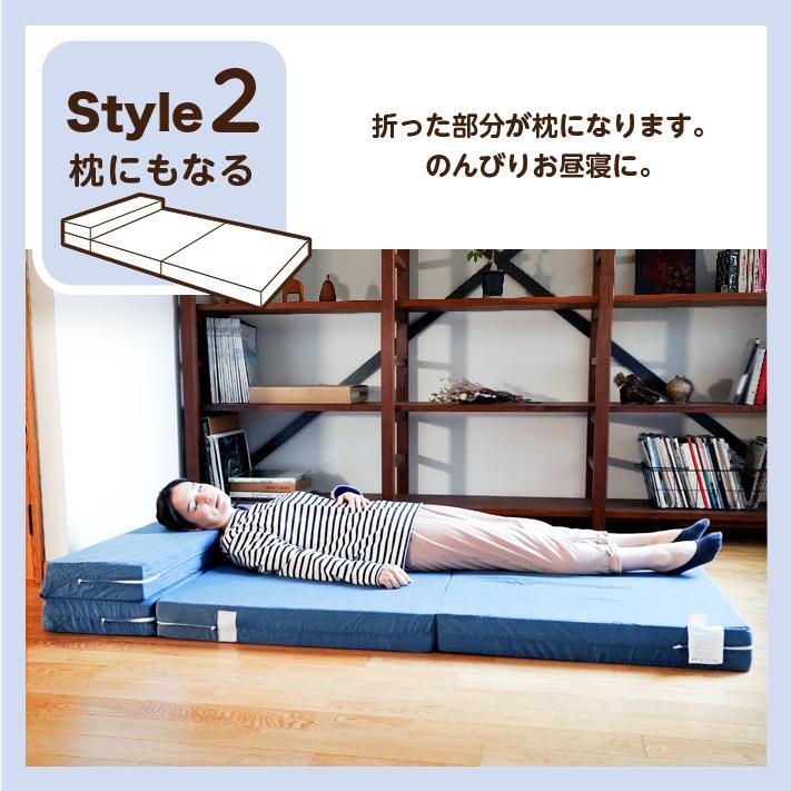 ソファベッド 折りたたみ シングル 4way 厚さ10センチ 硬め 日本製 キルト加工 ブラウン 圧縮《ソファマットレスS BR》 well808 06