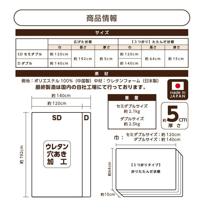 マットレス セミダブル 三つ折り 3つ折り 折りたたみ 日本製 厚さ5センチ 腰部分 硬め ウレタンマット 穴あけ加工 送料無料《逃湿バランスSD》|well808|11