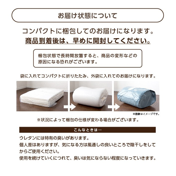 マットレス セミダブル 三つ折り 3つ折り 折りたたみ 日本製 厚さ5センチ 腰部分 硬め ウレタンマット 穴あけ加工 送料無料《逃湿バランスSD》 well808 12
