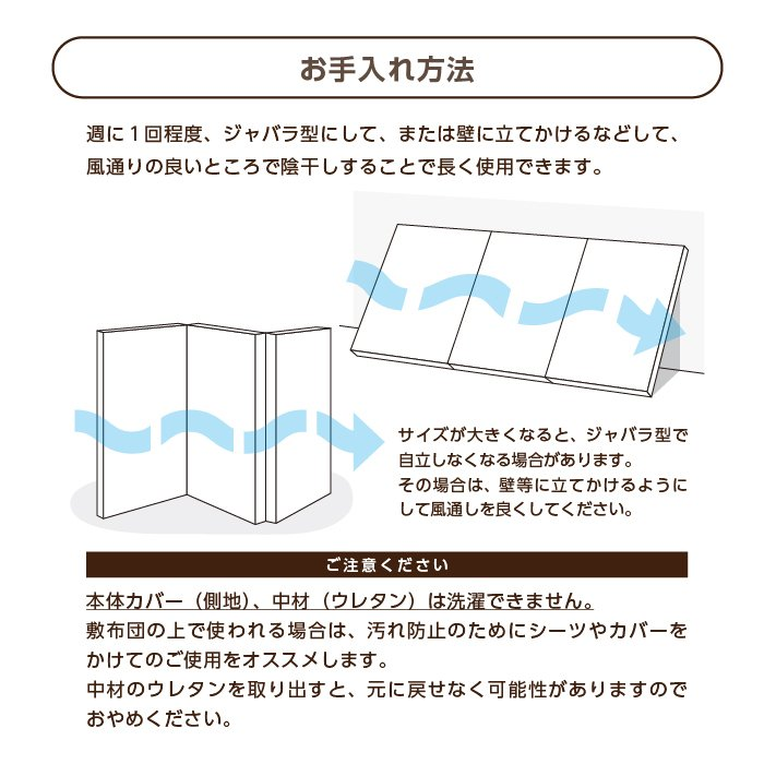 マットレス セミダブル 三つ折り 3つ折り 折りたたみ 日本製 厚さ5センチ 腰部分 硬め ウレタンマット 穴あけ加工 送料無料《逃湿バランスSD》 well808 13