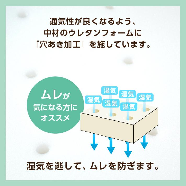マットレス セミダブル 三つ折り 3つ折り 折りたたみ 日本製 厚さ5センチ 腰部分 硬め ウレタンマット 穴あけ加工 送料無料《逃湿バランスSD》|well808|03