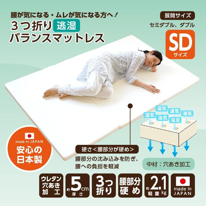 マットレス セミダブル 三つ折り 3つ折り 折りたたみ 日本製 厚さ5センチ 腰部分 硬め ウレタンマット 穴あけ加工 送料無料《逃湿バランスSD》 well808 04