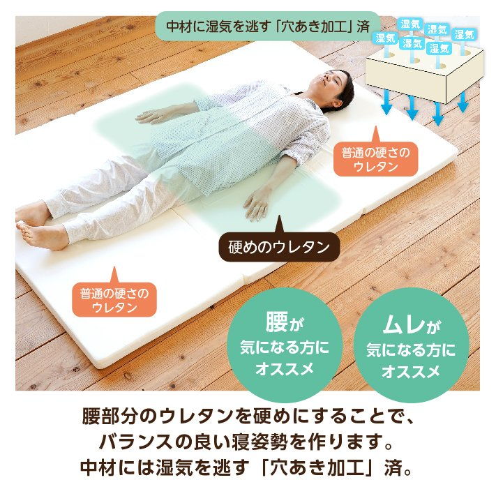 マットレス セミダブル 三つ折り 3つ折り 折りたたみ 日本製 厚さ5センチ 腰部分 硬め ウレタンマット 穴あけ加工 送料無料《逃湿バランスSD》|well808|10