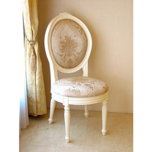輸入 オーダー家具 オーダー家具 オーバルチェア ルイ16世スタイル 薔薇の彫刻II ホワイト色 ゴールド花かご柄の張り地