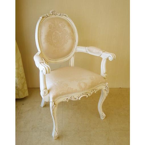 輸入 オーダー家具 オーバルアームチェア 猫脚 シェルの彫刻 マダム・ココ色 リボンとブーケ柄 オフホワイト色の張り地