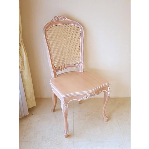 輸入 オーダー家具 ラ・シェル ラタンチェア リボンの彫刻 座面:木製 ピンクベージュ色