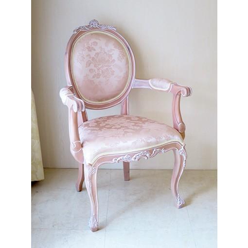 輸入 オーダー家具 オーバルアームチェア 猫脚 シェルの彫刻 ピンクベージュ色 アンピンクIの張地