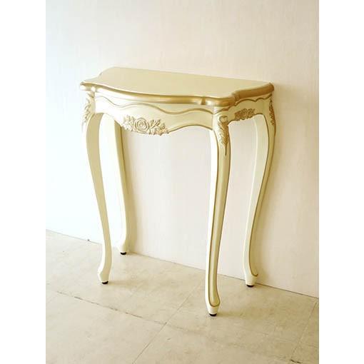 ●新商品● 輸入 オーダー家具 ラ・シェル コンソール W70cm 薔薇の彫刻 アンティークホワイト&ゴールド色