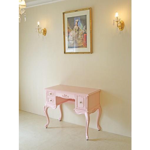●New!●輸入 オーダー家具 デスク バラの彫刻 天板スクエア バービーピンク色 右側引出1段 右側引出1段