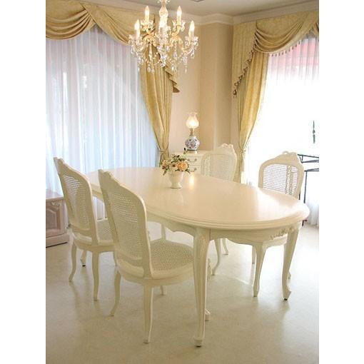 輸入 オーダー家具 プリンセス家具 リボンの彫刻 ダイニングテーブル 200 ホワイト