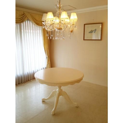 輸入 オーダー家具 ビバリーヒルズ ラウンドテーブル Φ110cm お花模様の彫刻 ホワイト色