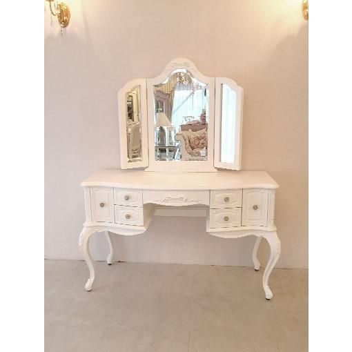 輸入 オーダー家具 オーダー家具 ビバリーヒルズドレッサー ホワイト色 W120 オードリーリボンの彫刻