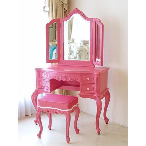 輸入家具 輸入家具 オーダー家具 ビバリーヒルズ ドレッサー ショッキングピンク色 ショッキングピンクのベルベット クリスタルつまみ付き