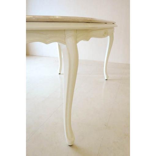大理石家具 オーダーメイド ラ・シェル ダイニングテーブル180 オードリーリボンの彫刻 脚彫刻なし ホワイト色 クリームベージュ 大理石天板乗せ westhousegallery 08