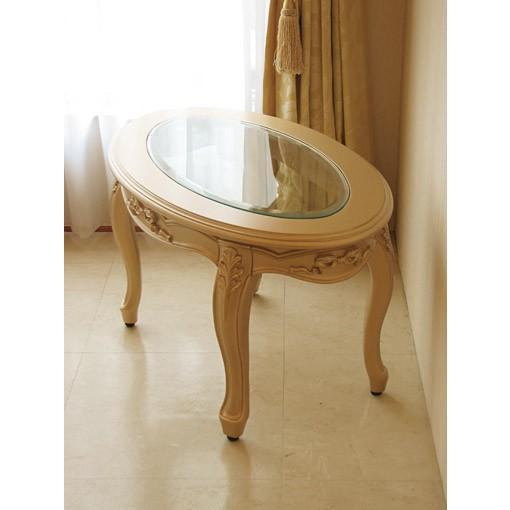 輸入 オーダー家具 センターテーブル オーバル ガラストップ オードリーリボンの彫刻 ゴールド色