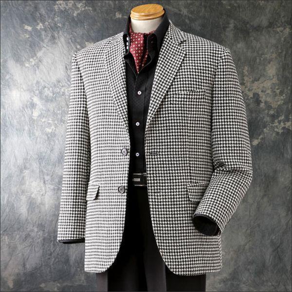 ジャケット 千鳥格子 千鳥柄 テーラードジャケット ブレザー メンズ 秋 冬 男性 紳士 50代 60代 70代 80代 シニアファッション 肩パッド 肩パット|wide02