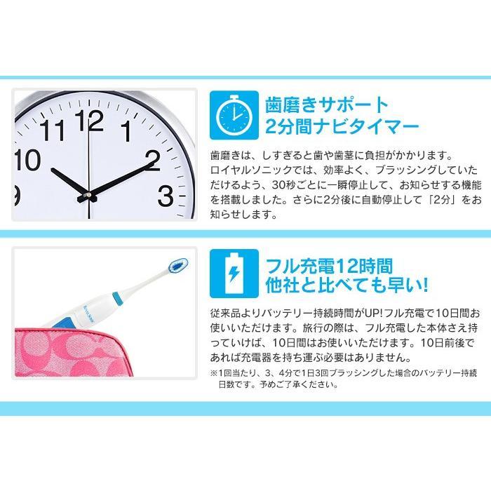 電動歯ブラシ 本体 充電式 音波歯ブラシ 替えブラシ10本セット 口臭対策 虫歯予防 使いやすい つるつる 安い ロイヤルソニック 76298-10 wide02 06