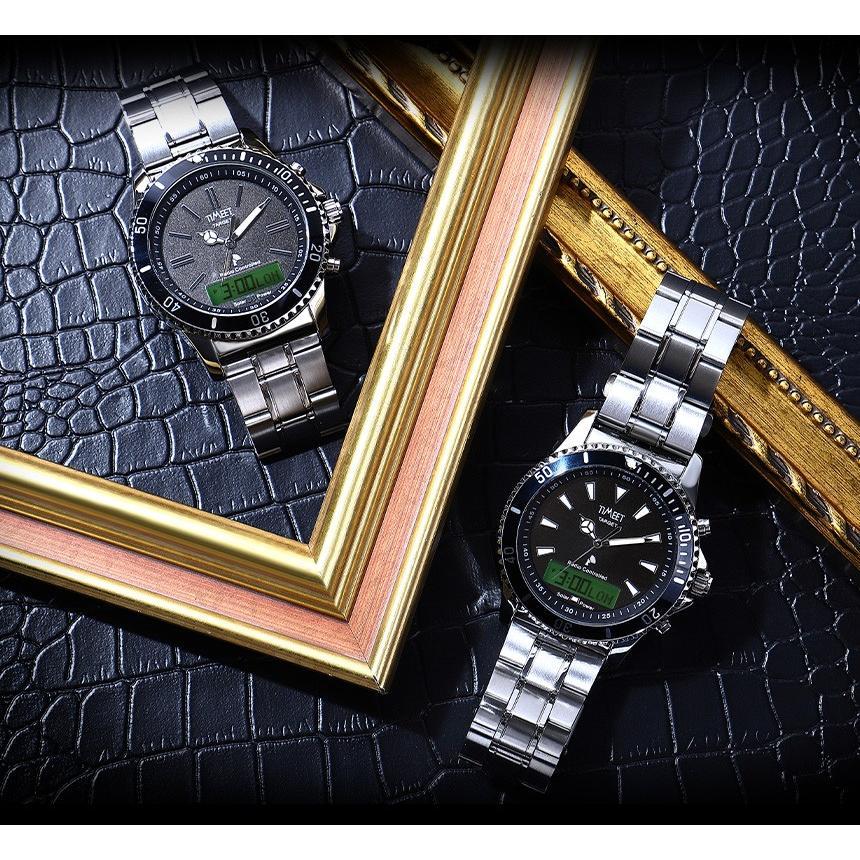 腕時計 メンズ 電波ソーラー メタルバンド 紳士腕時計 アナログ 男性用 ベルト交換可能 デジアナ デジタル おしゃれ かっこいい ティミット ホワイトデーギフト wide02 04