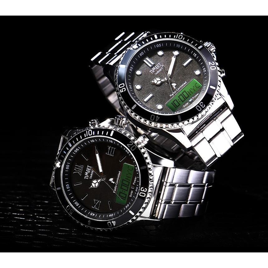 腕時計 メンズ 電波ソーラー メタルバンド 紳士腕時計 アナログ 男性用 ベルト交換可能 デジアナ デジタル おしゃれ かっこいい ティミット ホワイトデーギフト wide02 05
