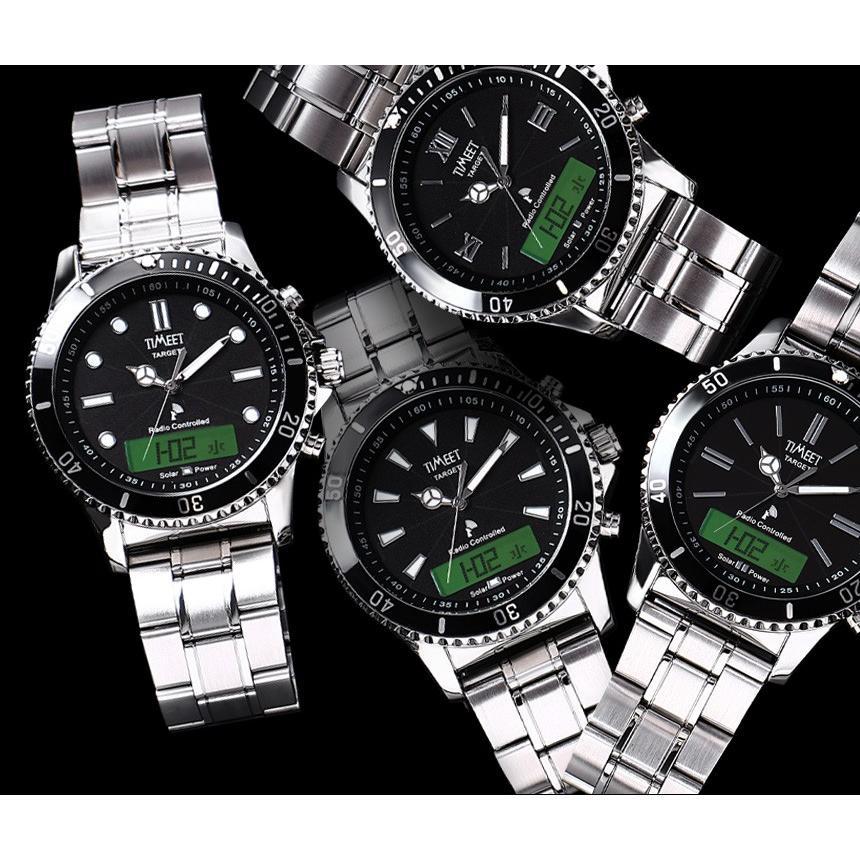 腕時計 メンズ 電波ソーラー メタルバンド 紳士腕時計 アナログ 男性用 ベルト交換可能 デジアナ デジタル おしゃれ かっこいい ティミット ホワイトデーギフト wide02 06