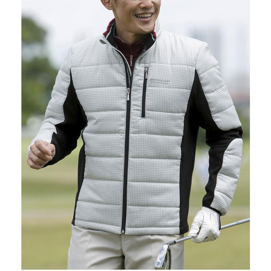 ゴルフウェア メンズ ブルゾン ジャケット 千鳥格子 千鳥柄 アウター 中綿 暖かい ジップアップ  秋 冬 男性 紳士 40代 50代 60代 70代 80代 ダンロップ DMS|wide02|02