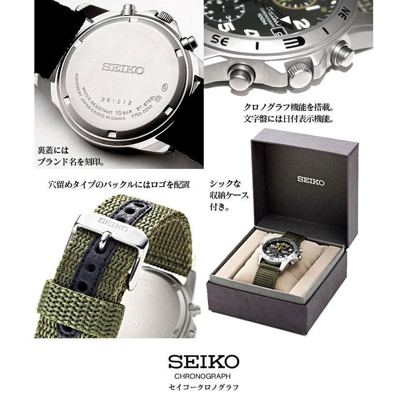 腕時計 セイコー クロノグラフ 逆輸入 メッシュバンド ナイロンバンド 10気圧防水 ミリタリーウォッチ SEIKO アナログ 腕時計 海外モデル アウトドア 新品|wide|04
