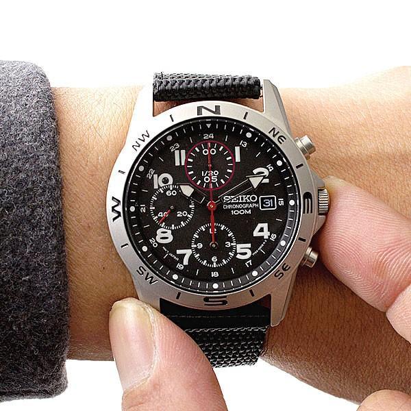 腕時計 セイコー クロノグラフ 逆輸入 メッシュバンド ナイロンバンド 10気圧防水 ミリタリーウォッチ SEIKO アナログ 腕時計 海外モデル アウトドア 新品|wide|10