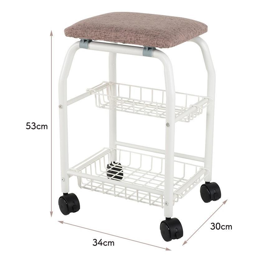 キッチンワゴン キッチンチェア キャスター付き キッチン用品 棚 収納ワゴン 椅子 座れる 高めの座面 2段 かご カゴ ストッパー付き 安全 ワゴンチェアー|wide|06