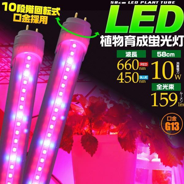 10本セット LED植物育成蛍光灯 G13口金 58cm 消費電力10W