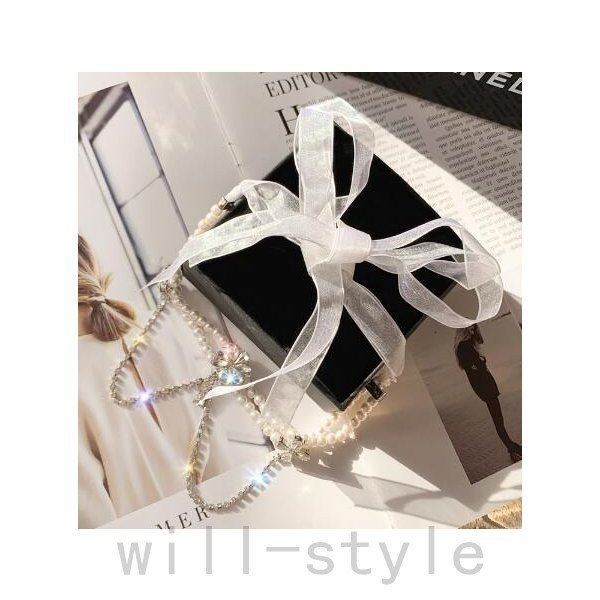 パールネックレス韓国オルチャンチョーカーリボンビジュー原宿系可愛いロリィタ二次会結婚式パーティーアクセサリー will-style 07