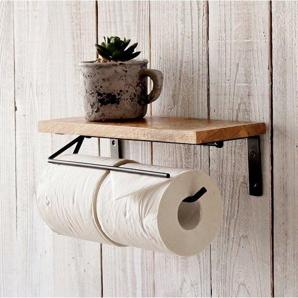 トイレットペーパーホルダー 2連 おしゃれ ペーパーホルダー トイレ 棚付き アイアン ダブル 木製 定番から日本未入荷 値引き マンゴーウッド トイレ収納 アンティーク ナチュラル