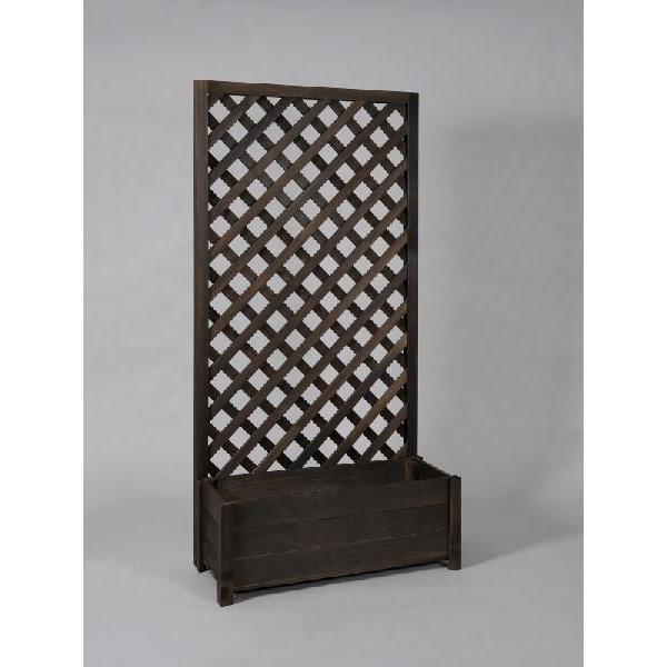 プランター付き 特注ラティスフェンス匠 ノーマル ななめ格子 ブラウン 木製 高さ+横幅=合計150cm以内 日本製 プランターボックス