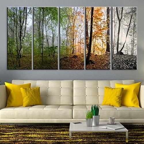 ウォールアート Four Seasons Canvas Print (12x32インチx5パネル) [正規品直輸入]