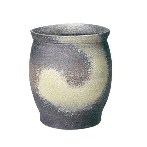 ヤマ庄陶器 傘立て グレーなど 44×42×50cm 信楽焼 窯変壺型傘立