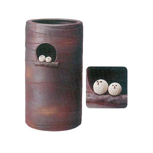 ヤマ庄陶器 傘立て ブラウンなど 30×31.5×53cm 信楽焼 コゲ火色仲良しふくろう傘立