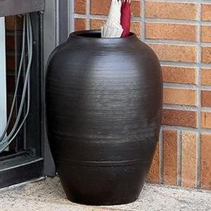 信楽焼 19号黒釉ツボ傘立て しがらき焼 笠立て 陶器 おしゃれ ha-0168