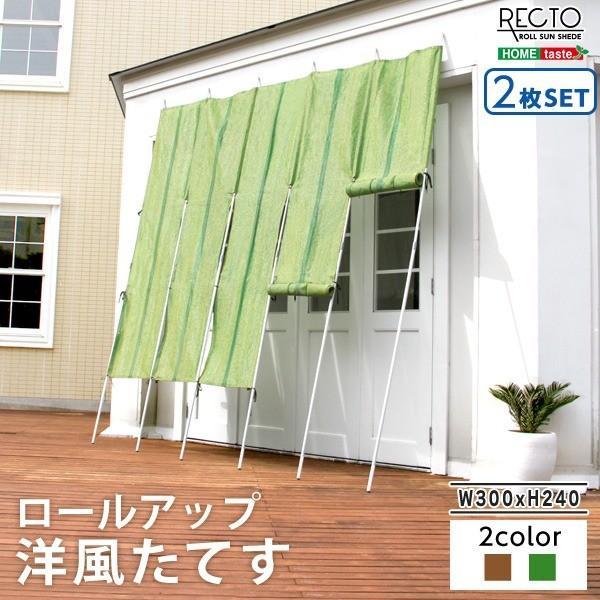 洋風たてす/サンシェード 〔同色2セット グリーン〕 幅300cm×高さ240cm 洗える ロールアップ可 『RECTO』 〔省エネ 目隠し〕〔代引不可〕