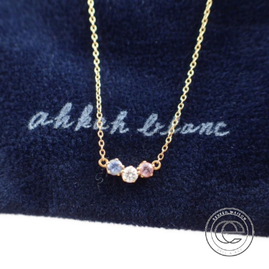 【正規販売店】 AHKAHアーカー ahkah blancアーカーブラン ザ・ステージ限定 K18 ダイヤモンド0.03ct サファイア トレスネックレス イエローゴールド, 真珠のジェルム 539a35a1