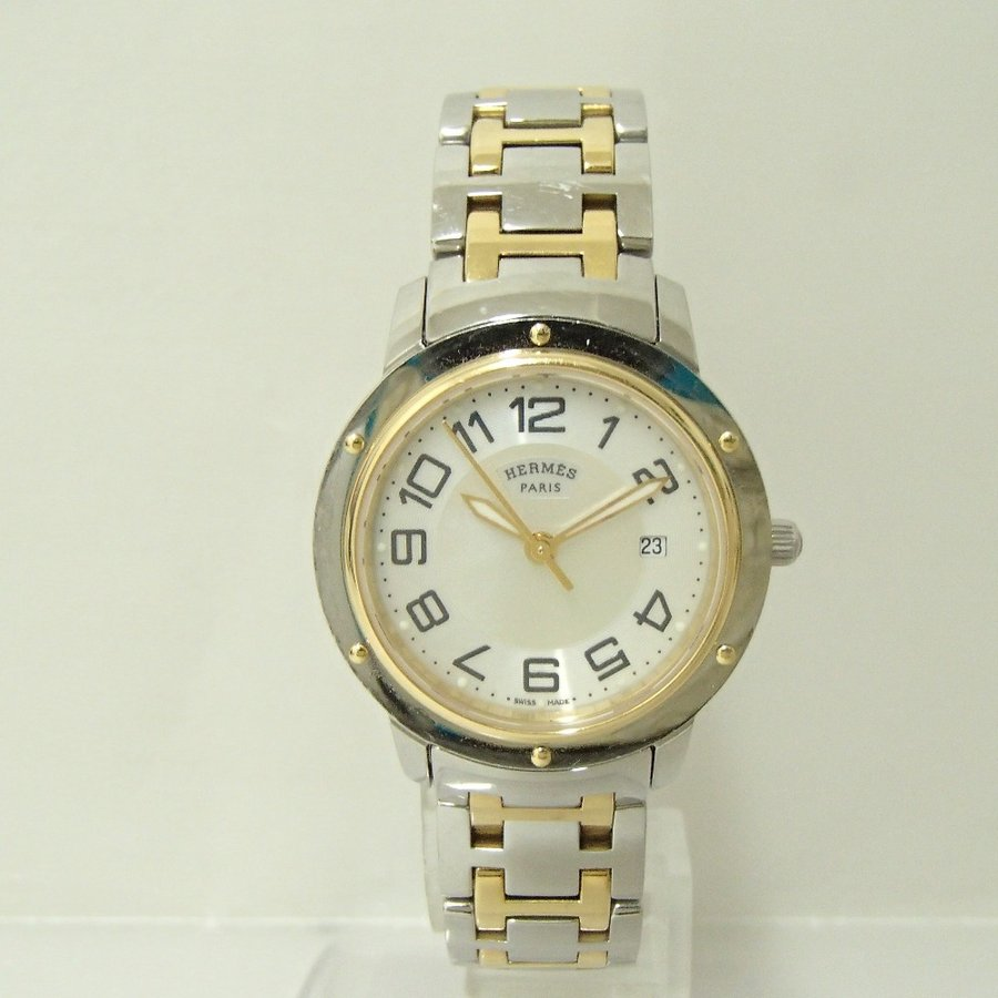 HERMESエルメス CP1.320 クリッパー クオーツ腕時計 シルバー/ゴールド レディース|wine-king|02