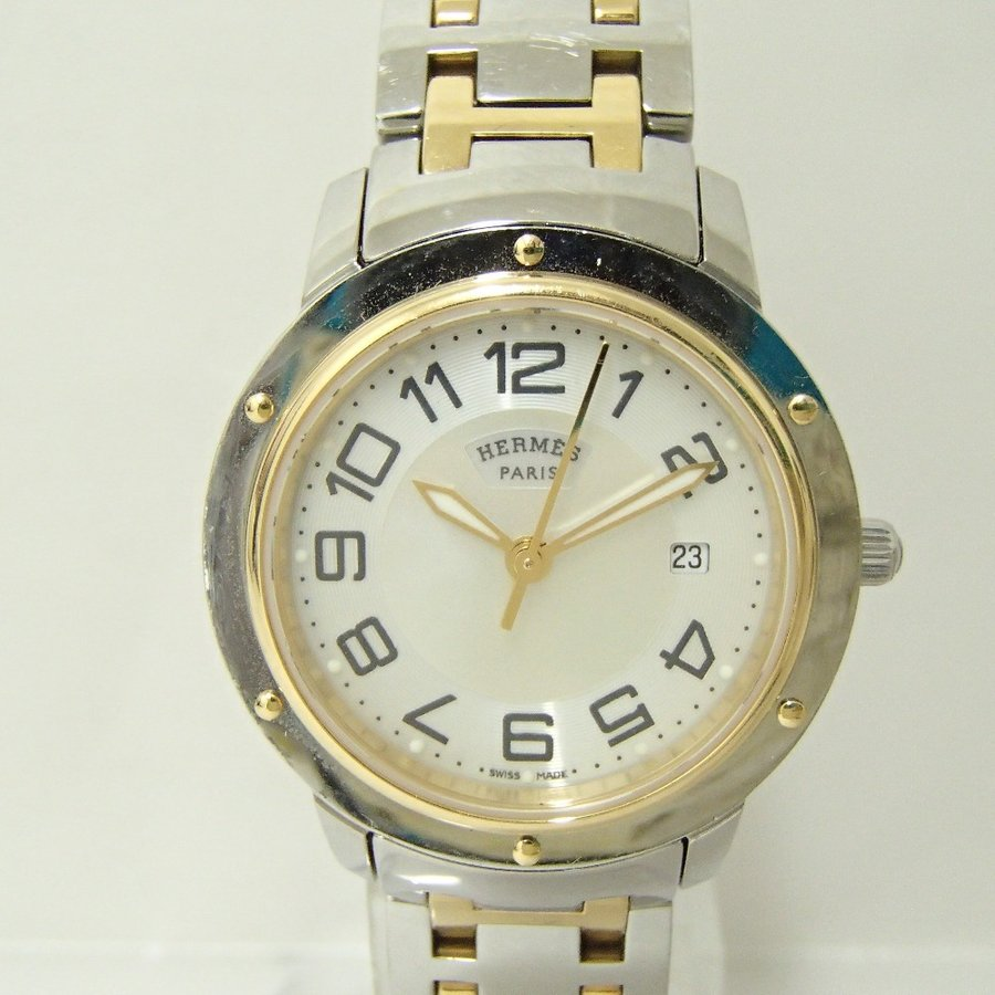 HERMESエルメス CP1.320 クリッパー クオーツ腕時計 シルバー/ゴールド レディース|wine-king|03