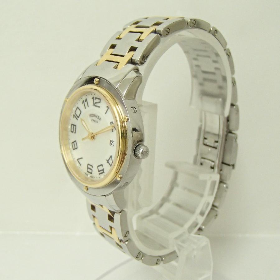 HERMESエルメス CP1.320 クリッパー クオーツ腕時計 シルバー/ゴールド レディース|wine-king|04