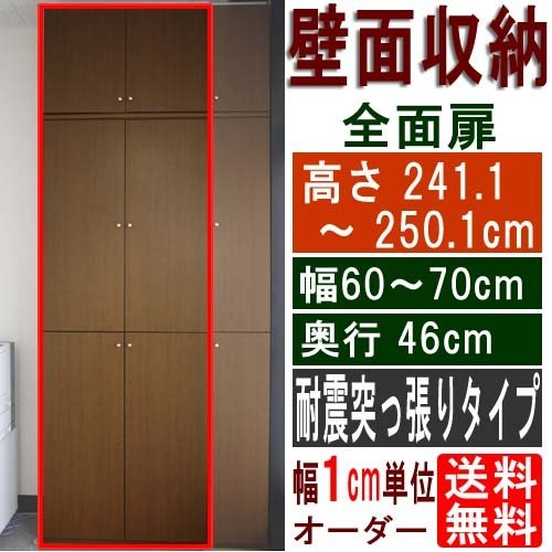 大型全面扉付き収納 整理棚 整理棚 高さ241.1〜250.1cm幅60〜70cm奥行46cm
