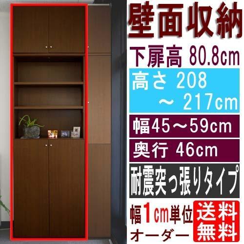 奥深壁収納 収納棚 高さ208·217cm幅45·59cm奥行46cm 下扉高さ80.8cm