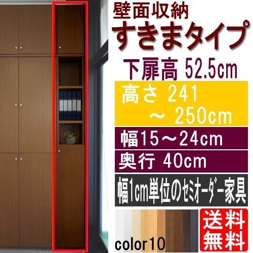 扉付壁面すきま収納 扉付壁面すきま収納 多目的棚 高さ241〜250cm幅15〜24cm奥行40cm厚棚板(棚板厚み2.5cm)