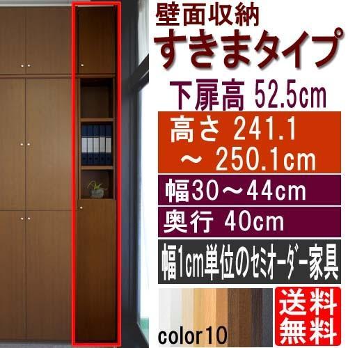 扉付すきま壁収納 扉付すきま壁収納 多目的収納 高さ241.1〜250.1cm幅30〜44cm奥行40cm厚棚板(棚板厚み2.5cm)