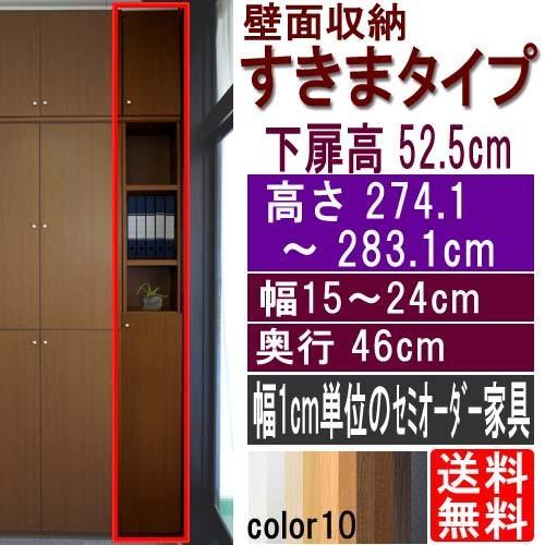 隙間つっぱり壁面収納 書棚 高さ274.1〜283.1cm幅15〜24cm奥行46cm 高さ274.1〜283.1cm幅15〜24cm奥行46cm 下扉高さ52.5cm