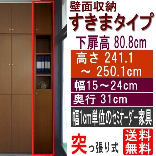 扉付壁面すきま収納 収納家具 収納家具 高さ241.1〜250.1cm幅15〜24cm奥行31cm厚棚板(棚板厚み2.5cm)