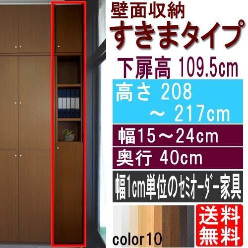 扉付壁面すきま収納 扉付壁面すきま収納 多目的収納 高さ208〜217cm幅15〜24cm奥行40cm厚棚板(棚板厚み2.5cm)