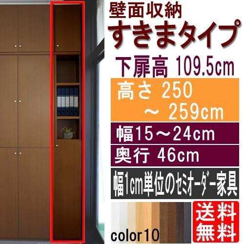 隙間つっぱり壁面収納 多目的収納 高さ250〜259cm幅15〜24cm奥行46cm 高さ250〜259cm幅15〜24cm奥行46cm 下扉高さ109.5cm
