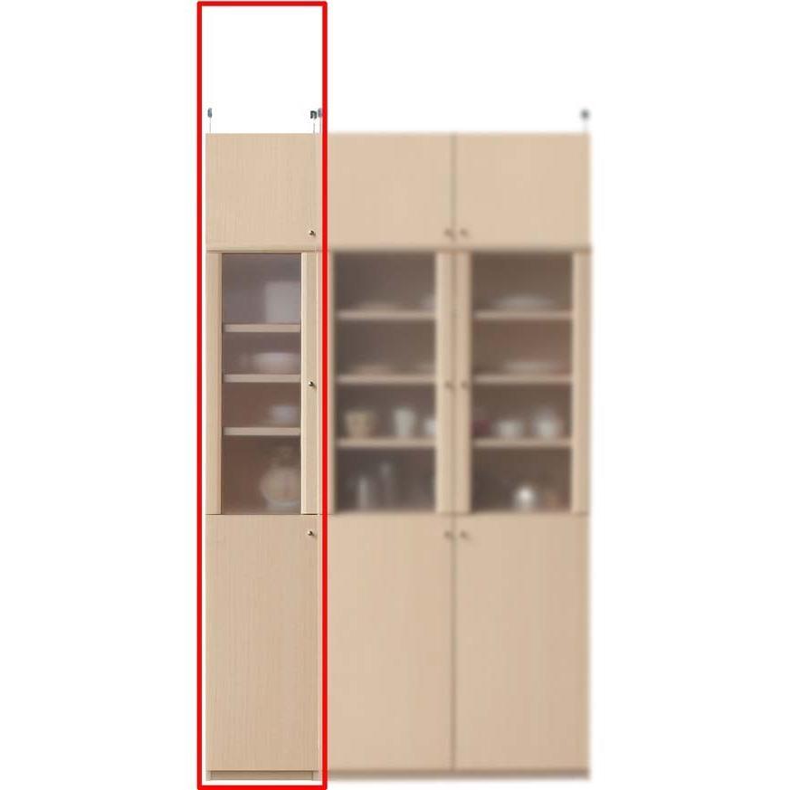 半透明扉隙間食器棚 キッチン収納 高さ217·226cm幅30·44cm奥行19cm厚棚板(棚板厚2.5cm)